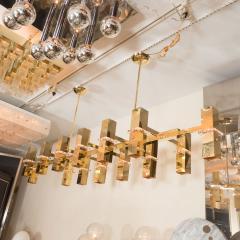 Rectilinear Brass Fourteen Light Chandelier - 375960