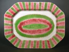 Red Green Large Spatterware Dish Northern English or Scottish - 1777840
