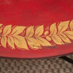 Red Tole Table with Decorative Oval Top and X Frame Base - 1095691
