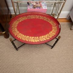 Red Tole Table with Decorative Oval Top and X Frame Base - 1095693