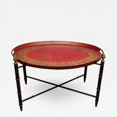 Red Tole Table with Decorative Oval Top and X Frame Base - 1096410