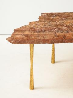 Red Travertine Natural Edge Slab Stone and Gold Leaf Coffee Table Italy - 1616506