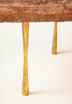 Red Travertine Natural Edge Slab Stone and Gold Leaf Coffee Table Italy - 1616510