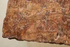 Red Travertine Natural Edge Slab Stone and Gold Leaf Coffee Table Italy - 1616513