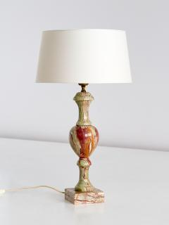 Red and Green Onyx Table Lamp with Ivory Shade Italy 1970s - 1063066