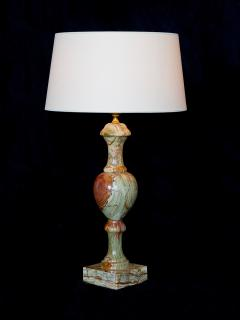 Red and Green Onyx Table Lamp with Ivory Shade Italy 1970s - 1063068