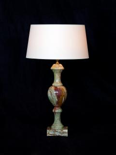 Red and Green Onyx Table Lamp with Ivory Shade Italy 1970s - 1063069