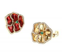 Red and Yellow Enamel Earrings with Emerald and Diamonds - 1853124