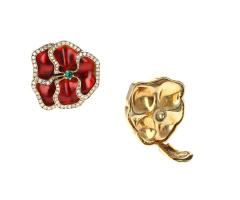 Red and Yellow Enamel Earrings with Emerald and Diamonds - 1853129