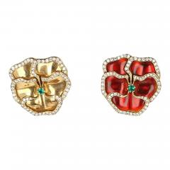 Red and Yellow Enamel Earrings with Emerald and Diamonds - 1853822