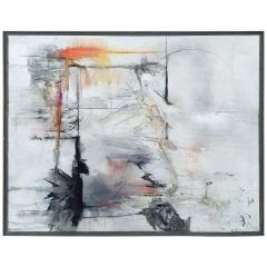 Reflections Black White Gray Abstract Painting By Kathi Robinson Frank - 1337188