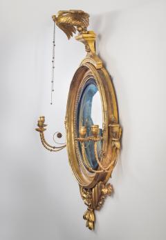 Regency Classical Gilt Convex Girandole Mirror - 976158