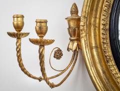 Regency Classical Gilt Convex Girandole Mirror - 976162