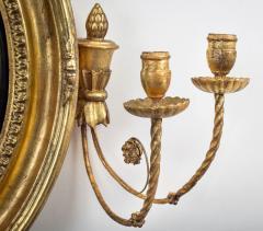 Regency Classical Gilt Convex Girandole Mirror - 976163