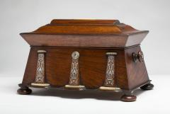 Regency Mother of Pearl Inlaid Rosewood Tea Chest - 1908889