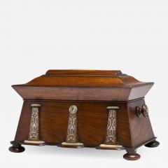 Regency Mother of Pearl Inlaid Rosewood Tea Chest - 1909590
