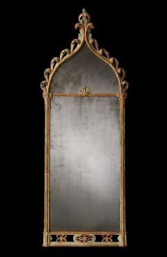 Regency Period Antique Mirror In the Gothic Style with Original Decoration - 1267881