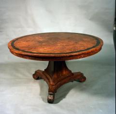 Regency Period Circular Burr Yew Wood Center Table - 1137599