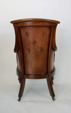 Regency William IV Mahogany and Leather Bergere Armchair - 1558983