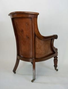 Regency William IV Mahogany and Leather Bergere Armchair - 1558984