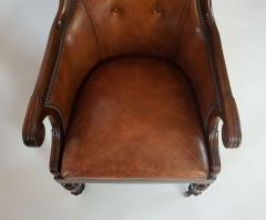 Regency William IV Mahogany and Leather Bergere Armchair - 1558985