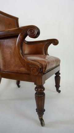 Regency William IV Mahogany and Leather Bergere Armchair - 1558986