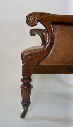 Regency William IV Mahogany and Leather Bergere Armchair - 1558987