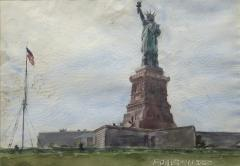 Reginald Marsh Girls on a Merry Go Round and Statue of Liberty a double sided watercolor - 1800374