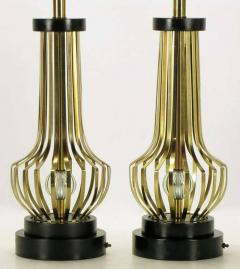 Rembrandt Lamp Company Pair of Rembrandt Brass Open Rib Table Lamps with Crystal Ball Centres - 274323