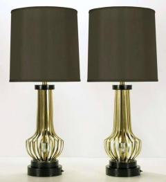 Rembrandt Lamp Company Pair of Rembrandt Brass Open Rib Table Lamps with Crystal Ball Centres - 274324