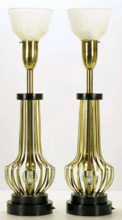 Rembrandt Lamp Company Pair of Rembrandt Brass Open Rib Table Lamps with Crystal Ball Centres - 274325