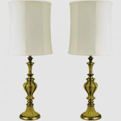 Rembrandt Lamp Company Pair of Rembrandt Brass and Antiqued Saffron Yellow Table Lamps - 276535
