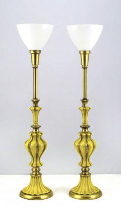 Rembrandt Lamp Company Pair of Rembrandt Brass and Antiqued Saffron Yellow Table Lamps - 276536