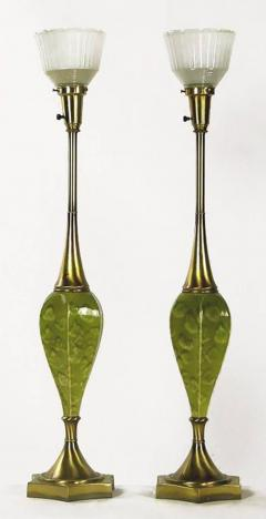 Rembrandt Lamp Company Pair Of Rembrandt Green Ceramic And Brass Table Lamps    277039
