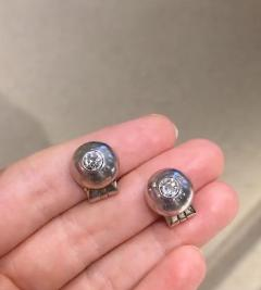 Ren Boivin Art Deco Period Boivin White Gold and Diamond Domed Stud Earrings - 2017419