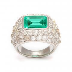 Ren Boivin Emerald Diamond Ring in Platinum by Rene Boivin - 85557