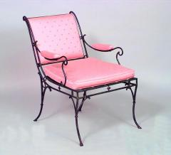 Ren Drouet French 1940s Iron Sleigh Back Scroll Design Armchair - 424839