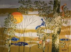 Ren Fumeron Aubusson tapestry by Ren FUMERON Like the moon woven in the Pinton workshop - 1295828