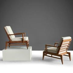Ren Gabriel Iconic Pair of Rene Gabriel Mid 20th Century Oak Lounge Chairs - 2115887