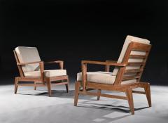 Ren Gabriel Iconic Pair of Rene Gabriel Mid 20th Century Oak Lounge Chairs - 2115892