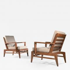 Ren Gabriel Iconic Pair of Rene Gabriel Mid 20th Century Oak Lounge Chairs - 2119625