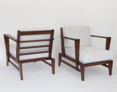 Ren Gabriel Rene Gabriel French Pair of Cherry Wood Lounge Chairs Reconstruction Period - 1061060