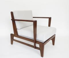 Ren Gabriel Rene Gabriel French Pair of Cherry Wood Lounge Chairs Reconstruction Period - 1061062