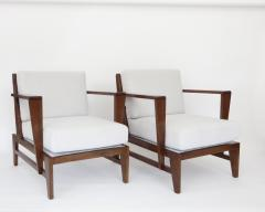 Ren Gabriel Rene Gabriel French Pair of Cherry Wood Lounge Chairs Reconstruction Period - 1061063