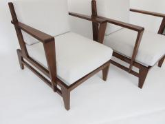 Ren Gabriel Rene Gabriel French Pair of Cherry Wood Lounge Chairs Reconstruction Period - 1061066