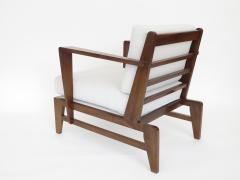 Ren Gabriel Rene Gabriel French Pair of Cherry Wood Lounge Chairs Reconstruction Period - 1061070