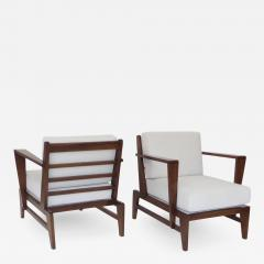 Ren Gabriel Rene Gabriel French Pair of Cherry Wood Lounge Chairs Reconstruction Period - 1061593