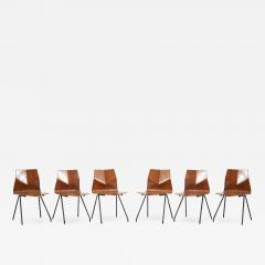 Ren Jean Caillette Set of 6 Plywood Dining Chairs by Ren Jean Caillette for Steiner France 1958 - 1509594