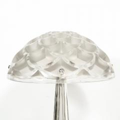 Ren Lalique Lalique Co Art Deco Style Silvered Bronze Table Lamp with Rinceaux Shade Signed by Lalique - 1802307
