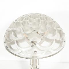 Ren Lalique Lalique Co Art Deco Style Silvered Bronze Table Lamp with Rinceaux Shade Signed by Lalique - 1802309